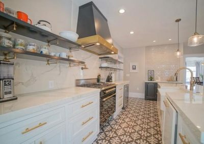 White Kitchen Cabinets Grey Oven Hood